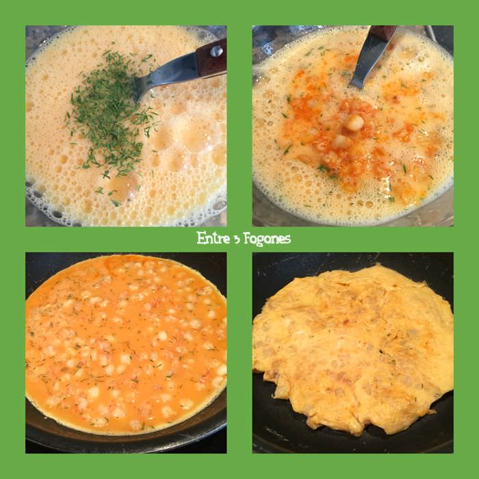 Pasos Tortilla de Gambas y Calamar