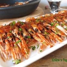 Cigalas Flambeadas en Salsa de Verdura