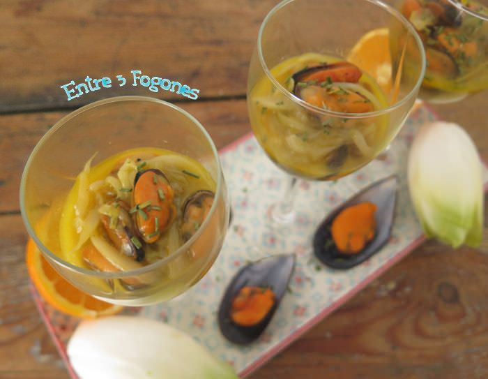 Endivias Salteadas con Mejillones al Aroma de Naranja y Miel