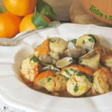 Vieiras y Gambones en Salsa de Mandarinas