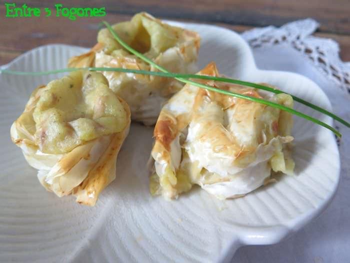 Receta Caracolas Masa Filo Rellenas de Puré de Patata y Ventresca de Atún