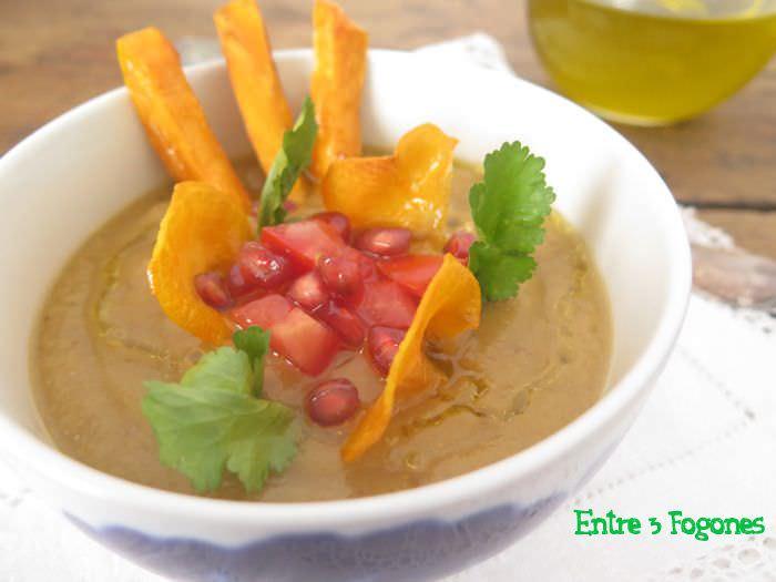 Receta Crema de Coliflor y Lentejas con Chips de Batata