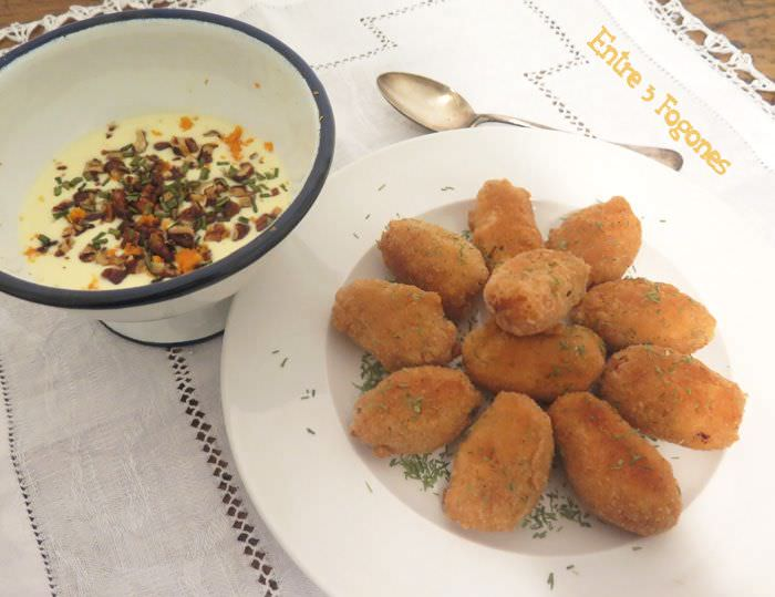 Receta Croquetas de Salmón con Dip de Nueces Caramelizadas