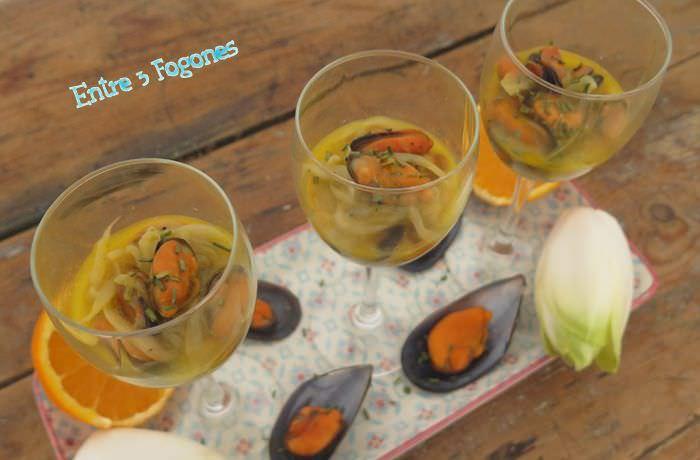 Receta Endivias Salteadas con Mejillones al Aroma de Naranja y Miel
