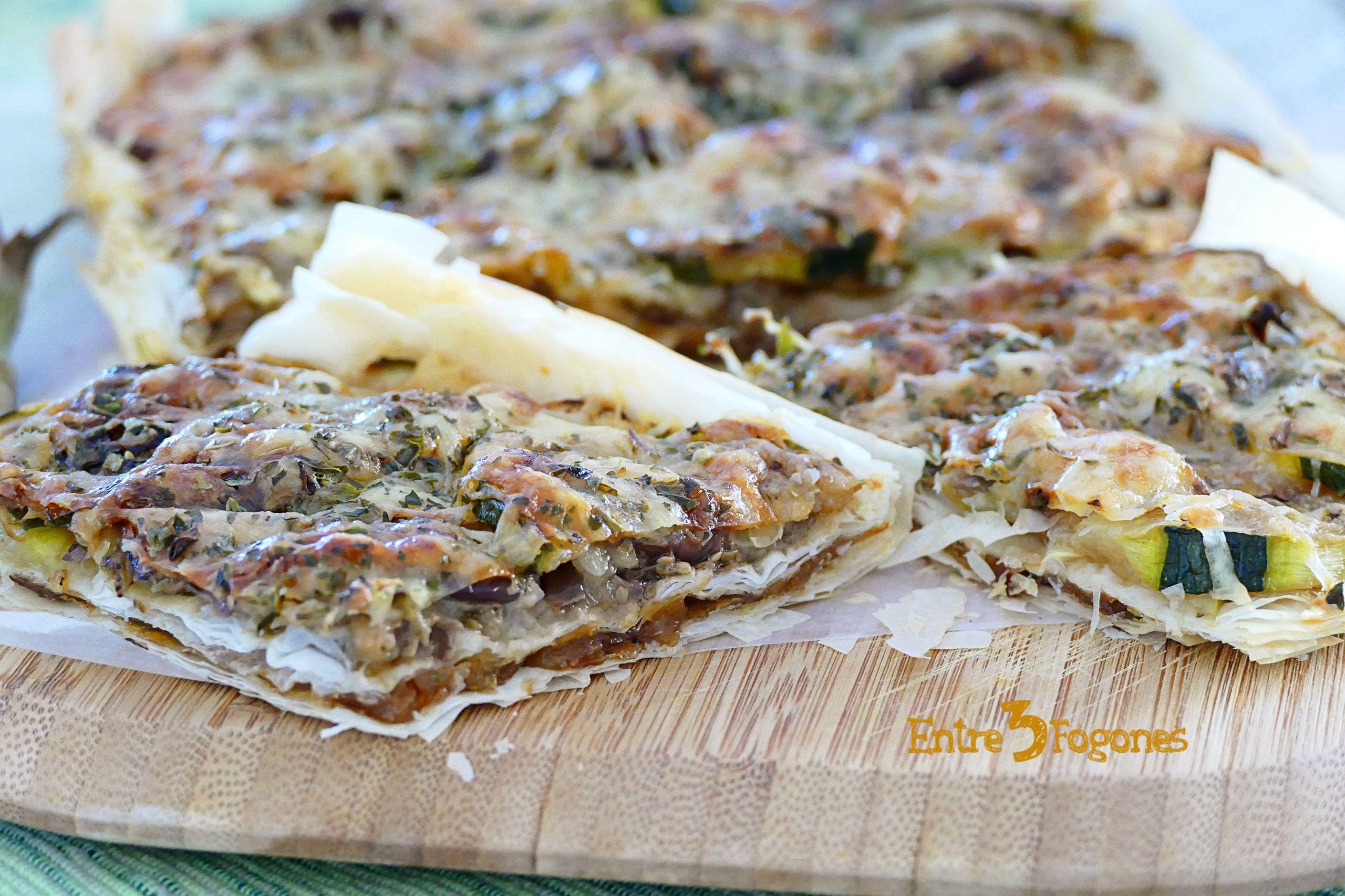 Receta Empanada de Cebolla Caramelizada y Berenjena
