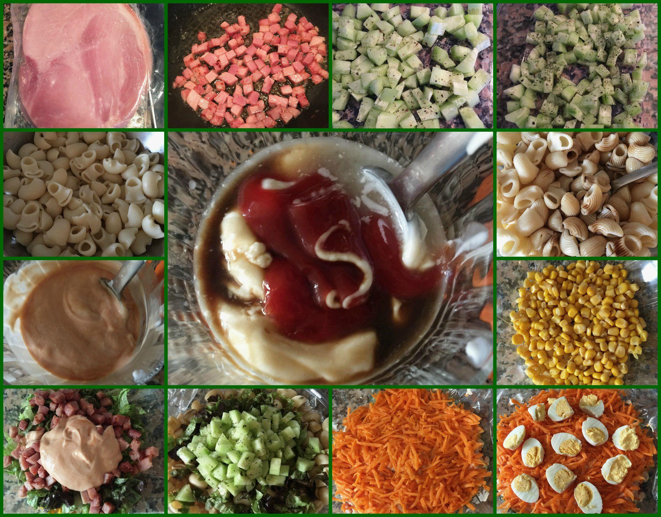 Pasos Ensalada de Pasta Corta con Vegetales y Salsa Rosa
