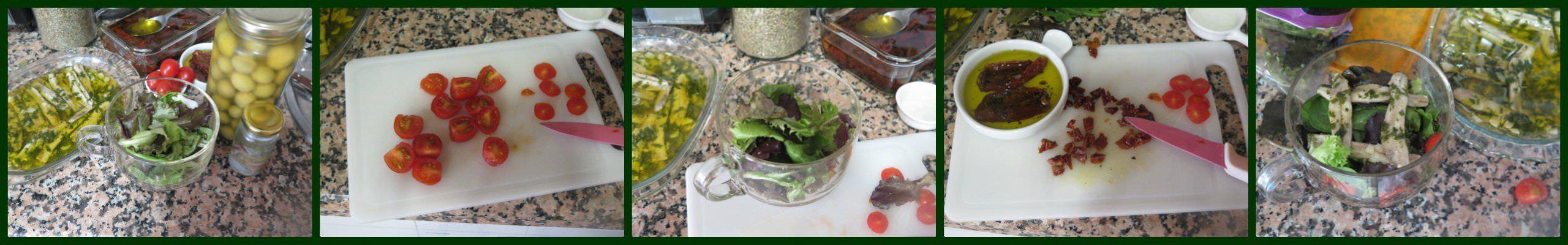 Pasos Ensalada de Tomate con Boquerones en Vinagre