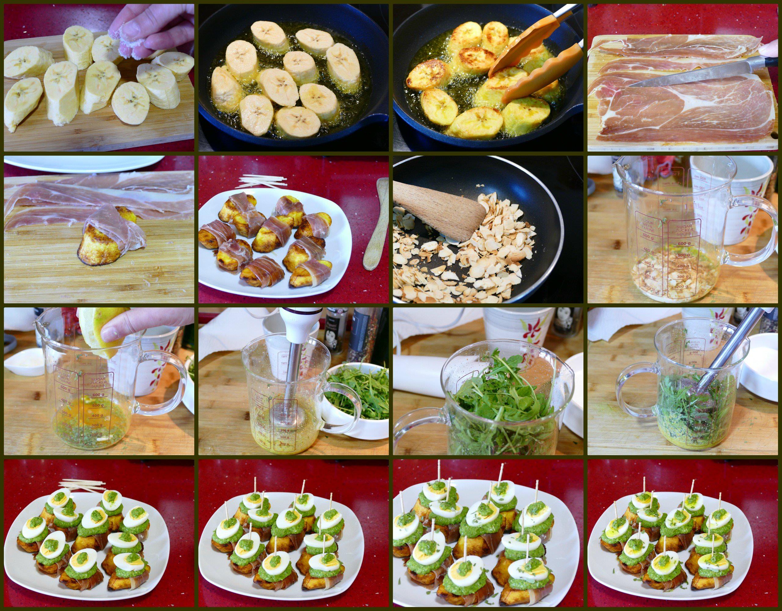 Pasos Montaditos de Plátano Macho con Pesto de Rúcula y Jamón Serrano