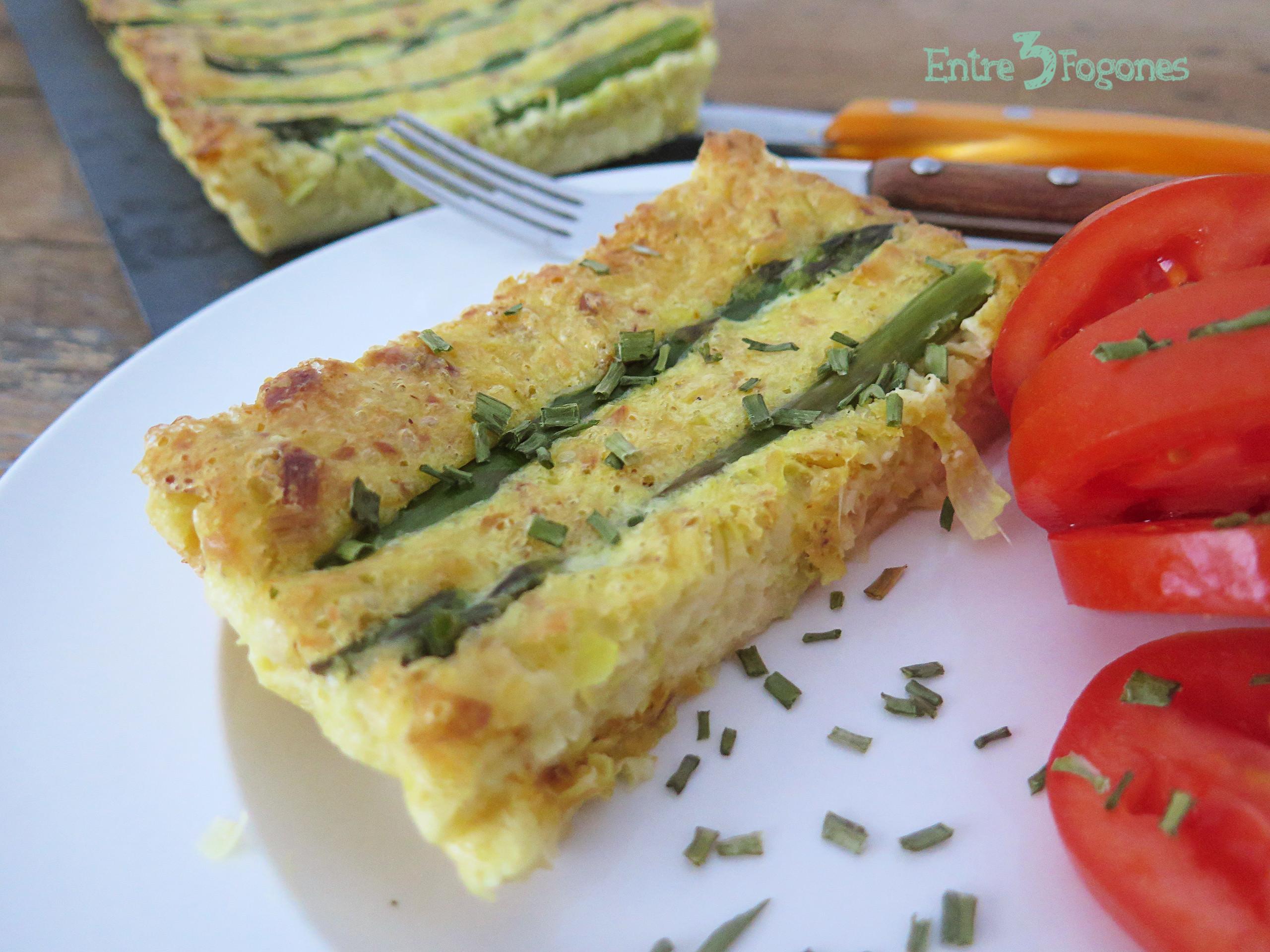 Receta Tarta de Espárragos Verdes con Puerro