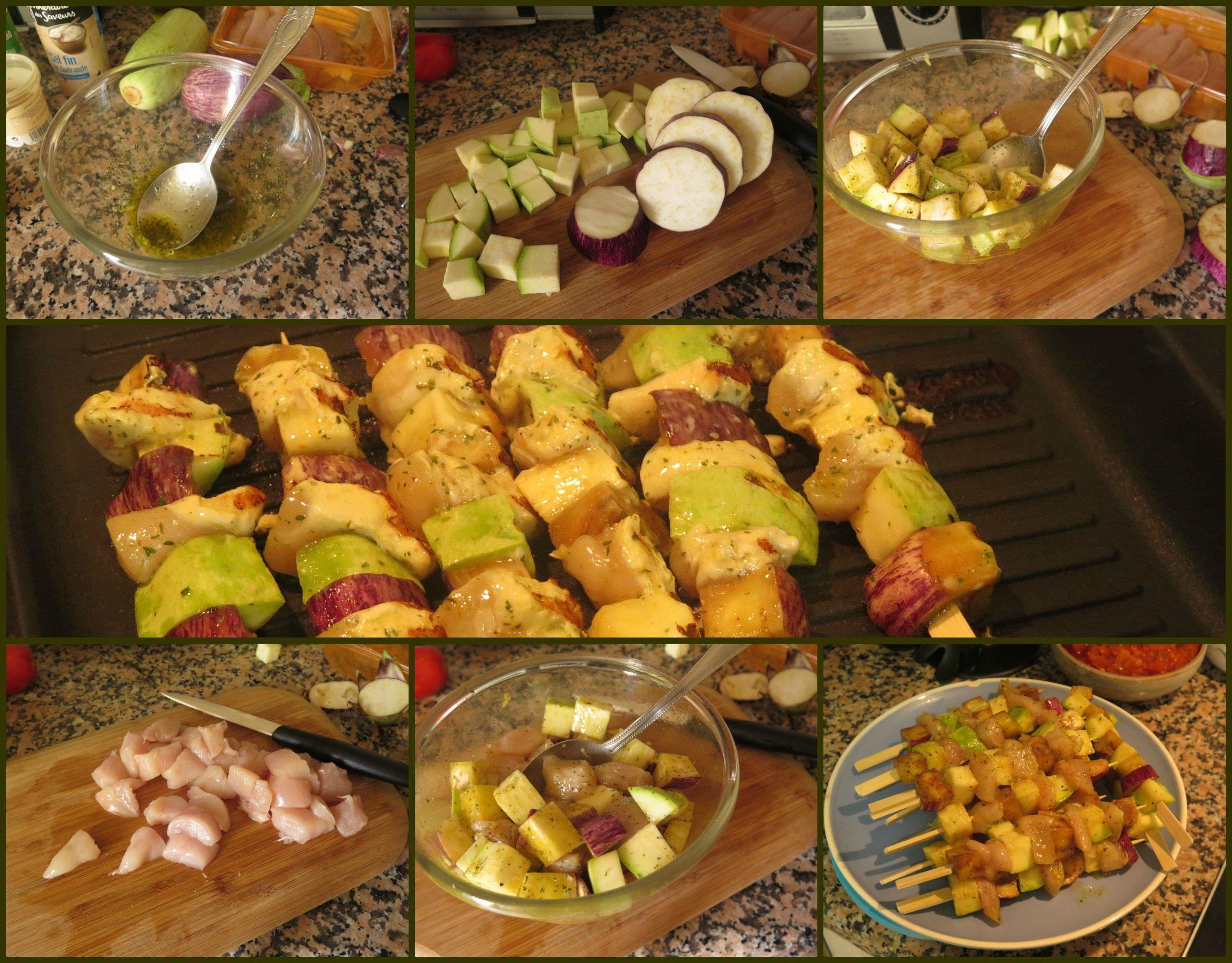 Pasos Brochetas de Pollo a la Plancha con Verduras Marinadas