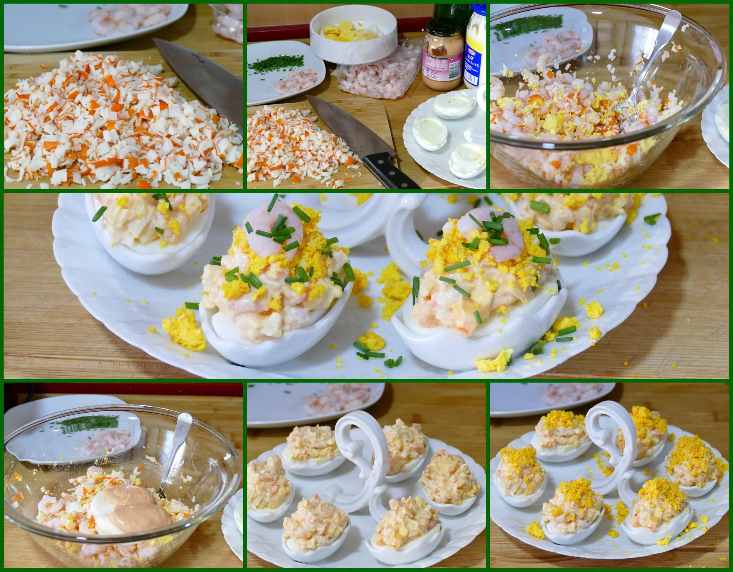 Pasos Huevos Rellenos de Gambas y Surimi