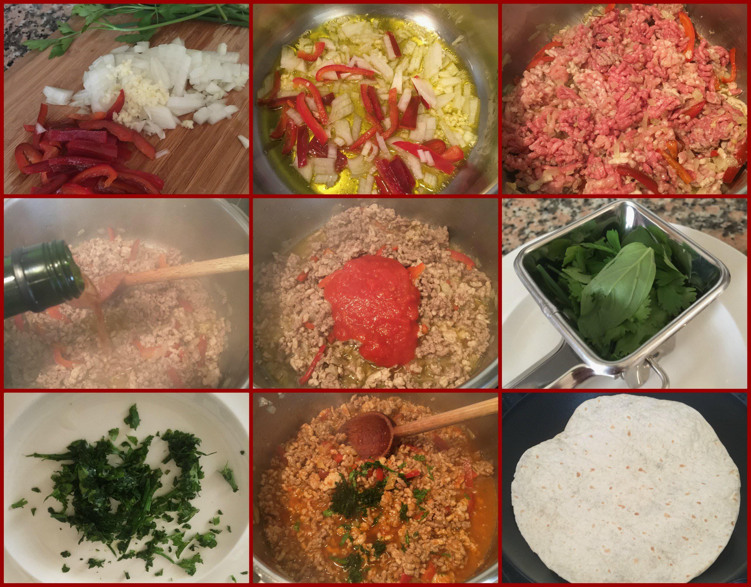 Pasos Wraps de Pollo a la Boloñesa con Vegetales