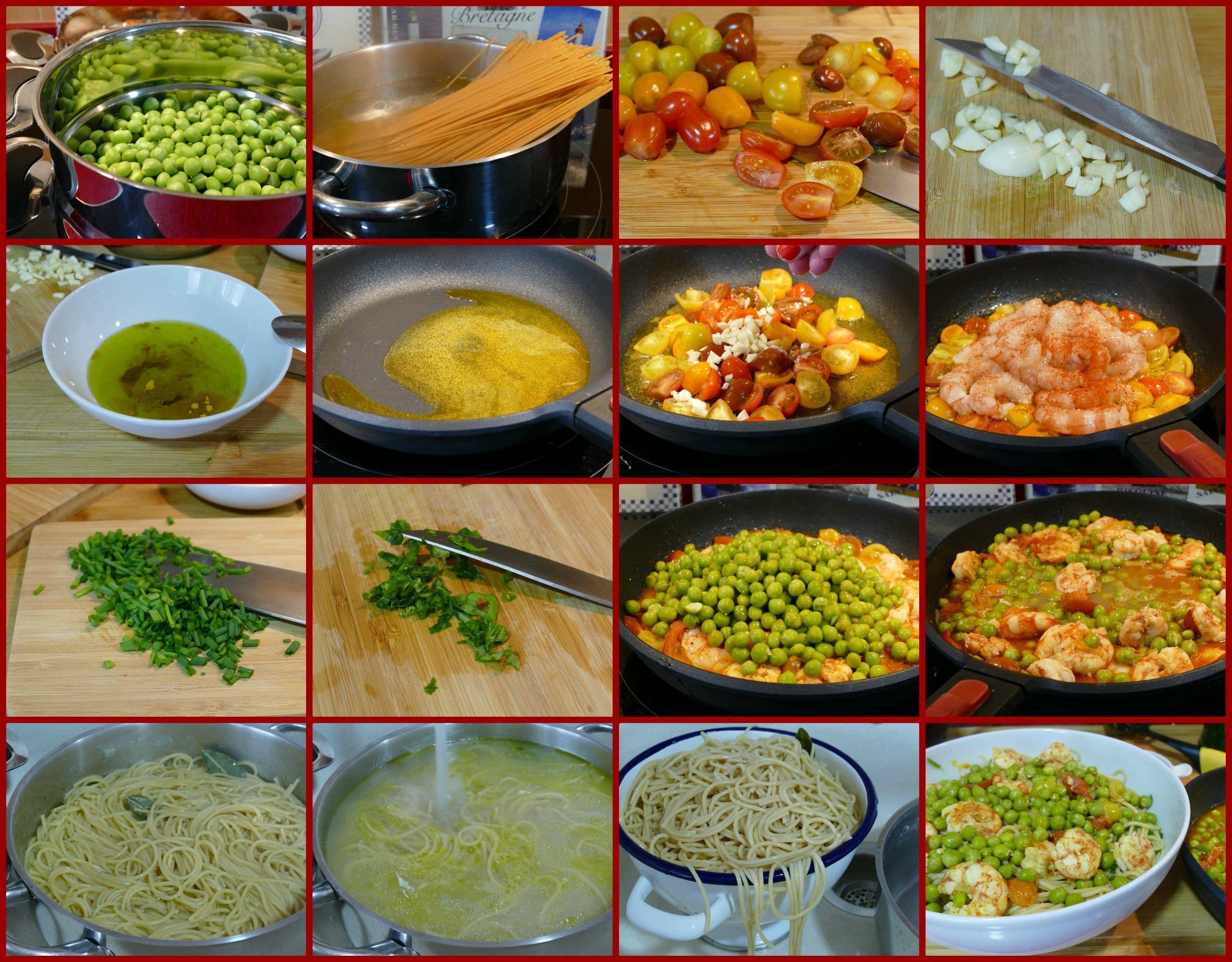 Pasos Espaguetis Integrales con Gambas y Tomates Cherry al Curry