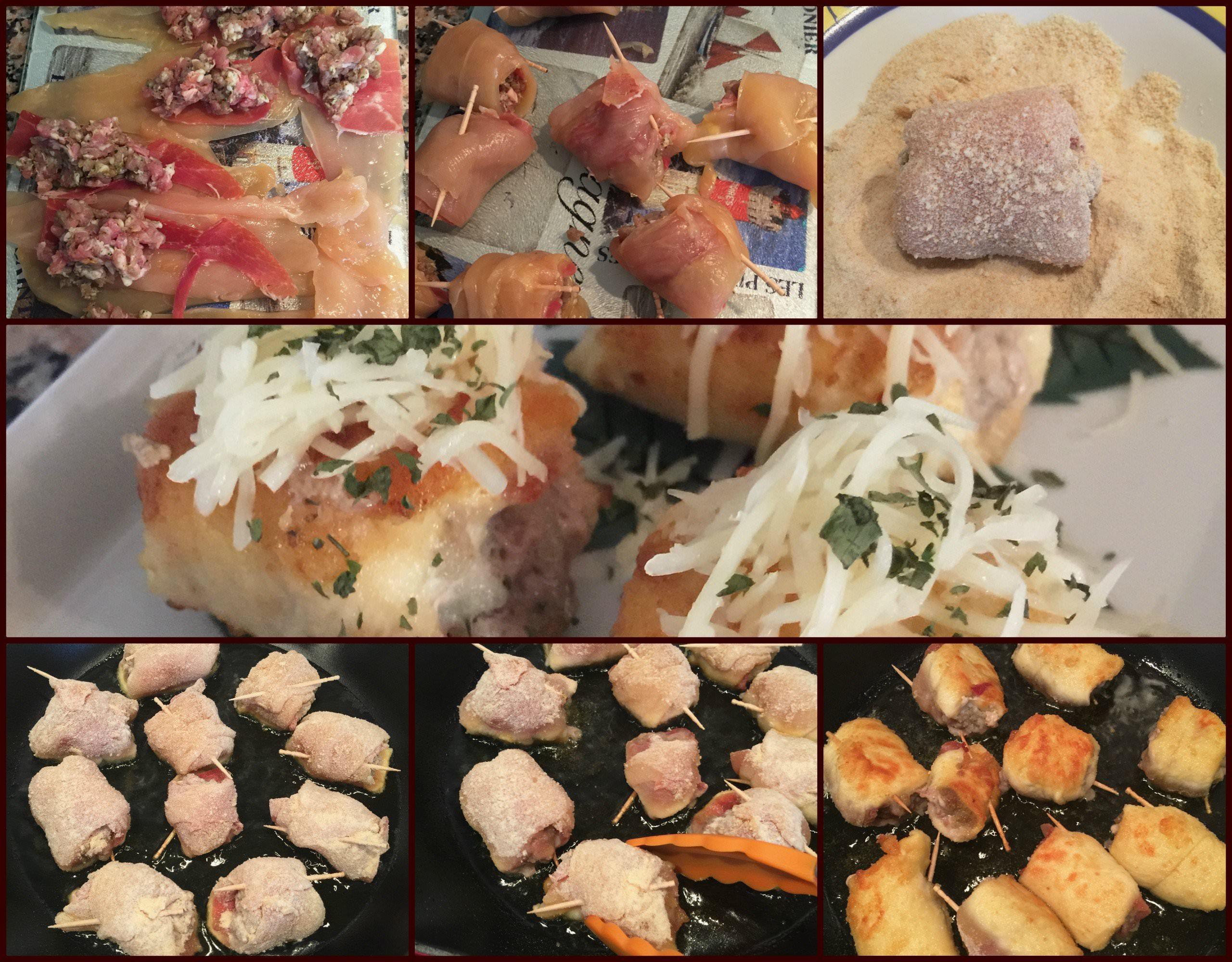 Pasos Rollitos de Pechuga de Pollo Rellenos y Gratinados con Queso