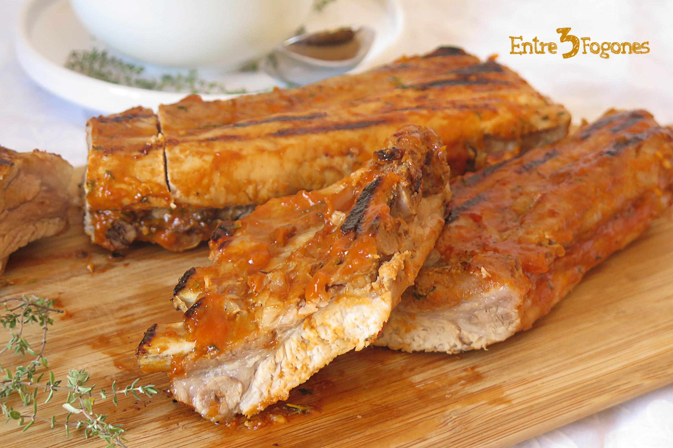Receta Costillas de Cerdo al Horno con Salsa Barbacoa
