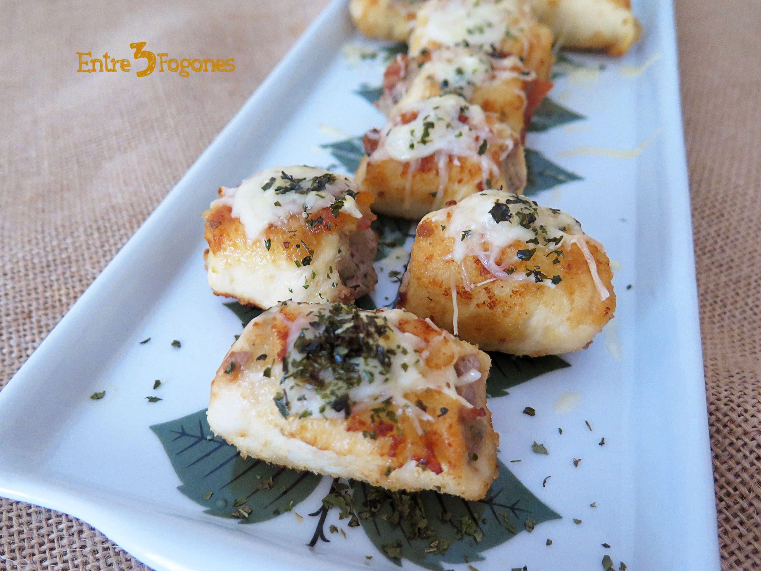 Receta Rollitos de Pechuga de Pollo Rellenos y Gratinados con Queso