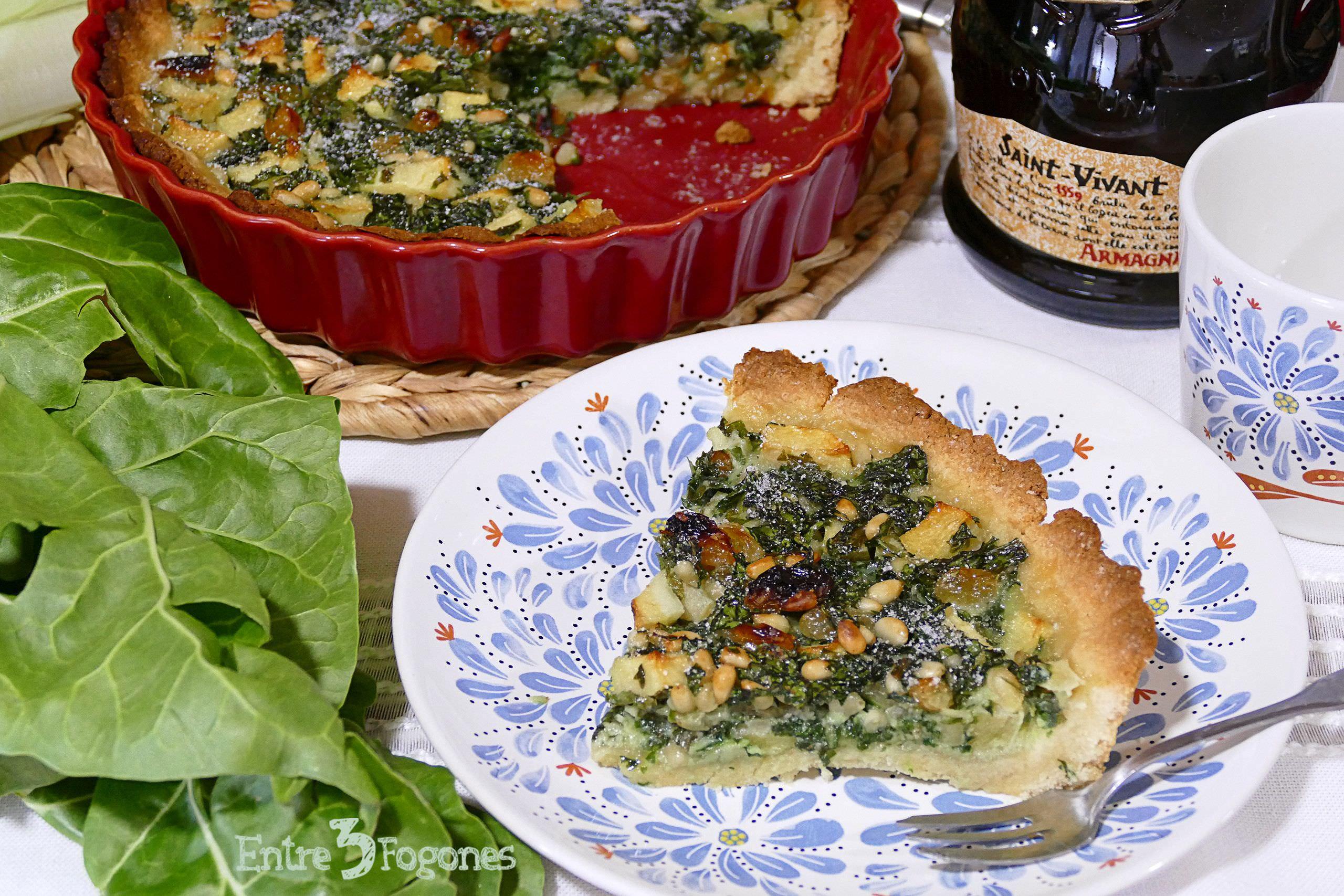 Receta Tarta Dulce de Manzana y Acelgas al Armagnac