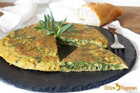 Tortilla de Collejas con Ajete y Cebolleta
