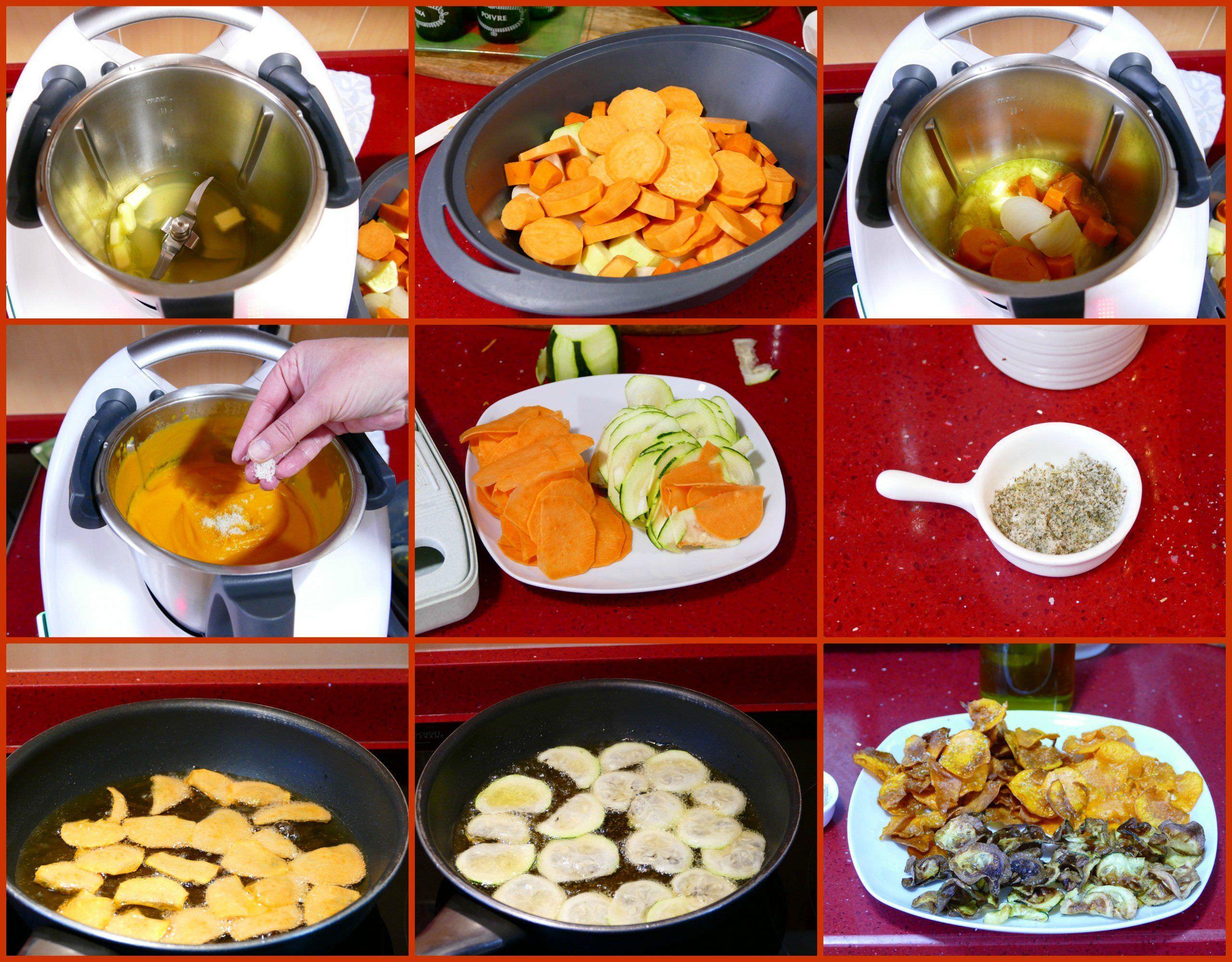 Pasos Crema de Batata con Chips de Batata y Calabacín