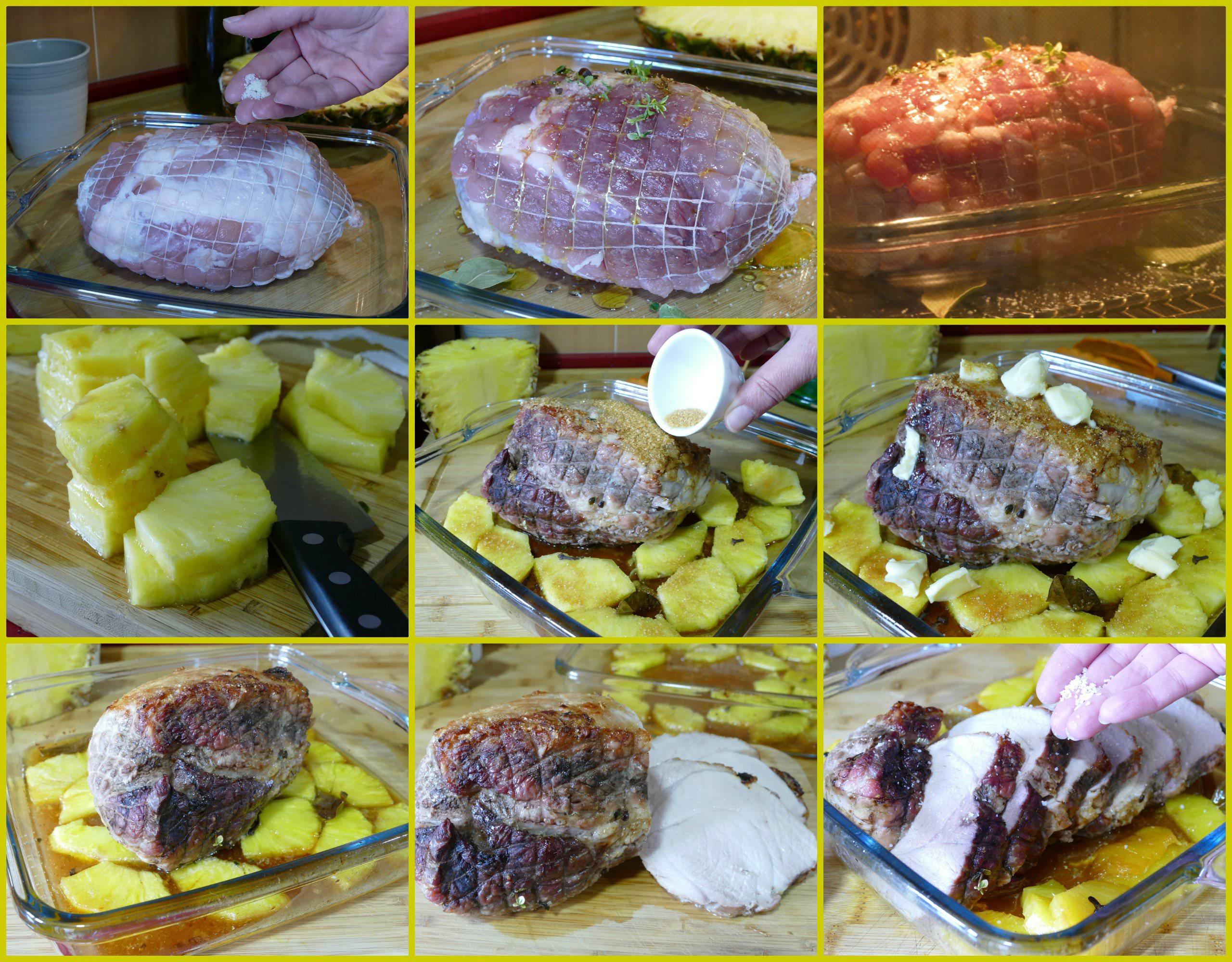 Pasos Redondo de Cerdo al Horno con Piña Caramelizada