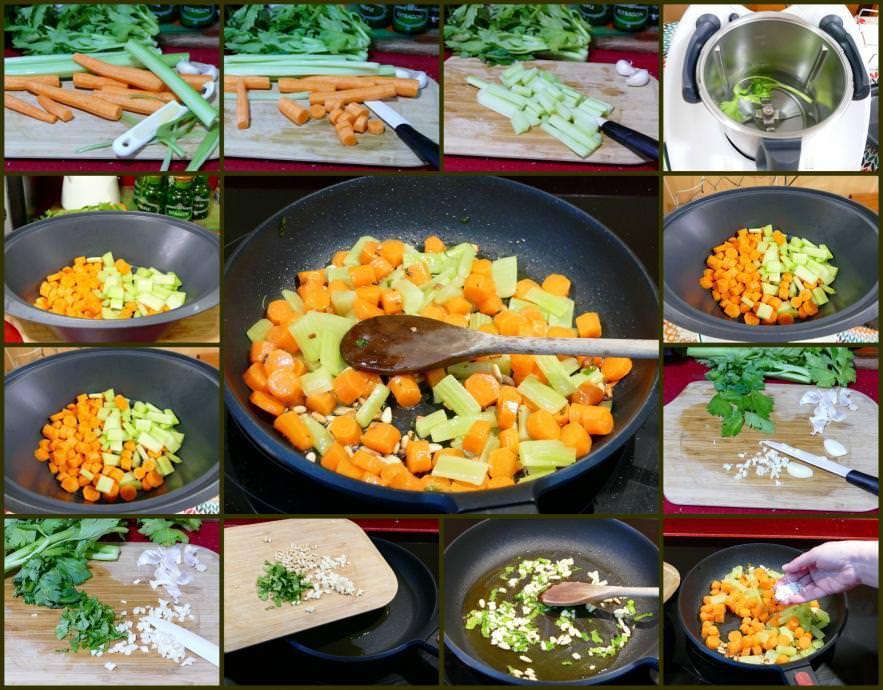 Pasos Receta Salteado de Apio y Zanahoria al Vapor