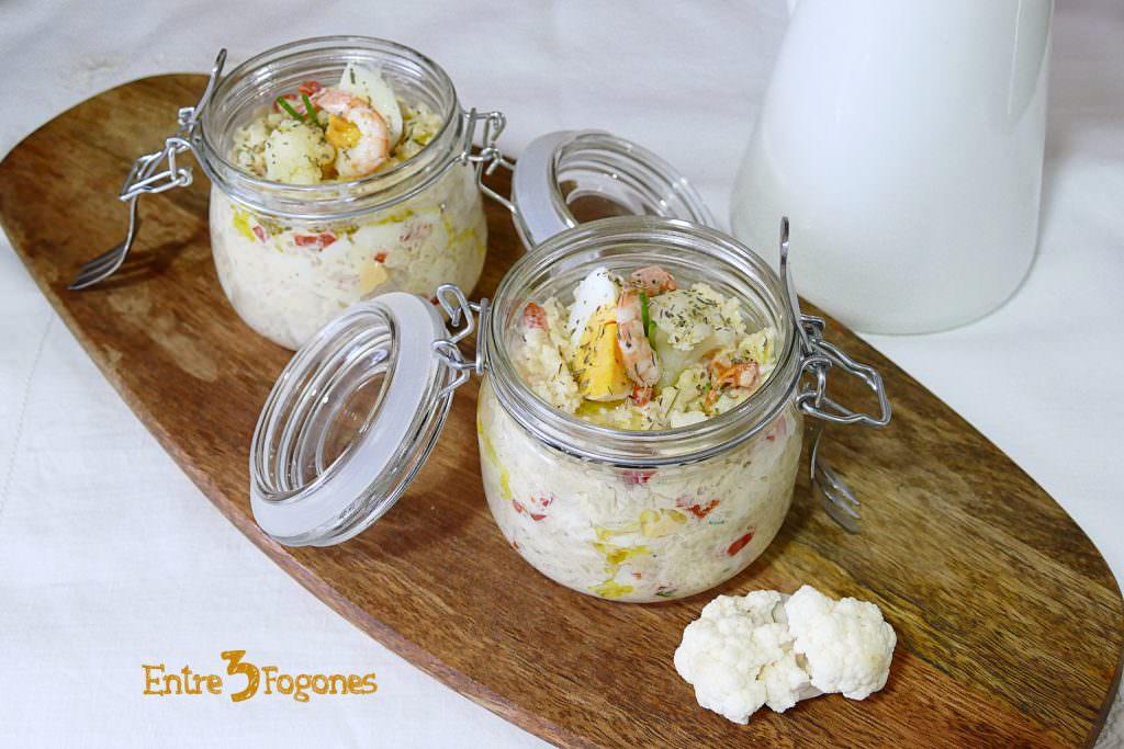 Receta Coliflor con Gambas en Mayonesa de Anchoas: