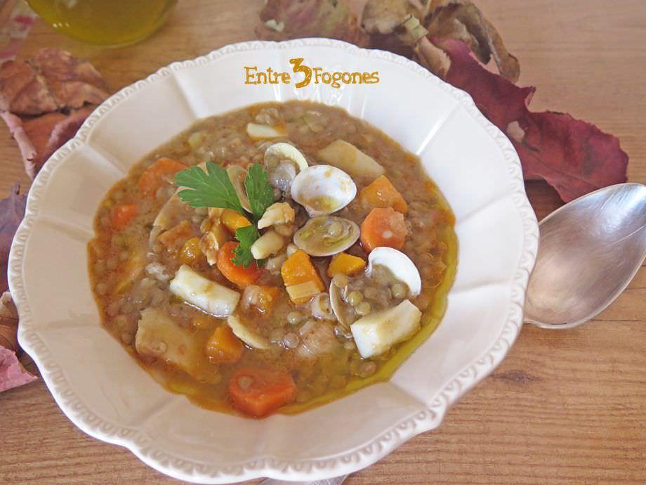 Receta Potaje de Lentejas con Sepia y Calabaza