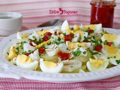 Receta Ensalada de Bacalao y Patata con Mermelada de Tomate