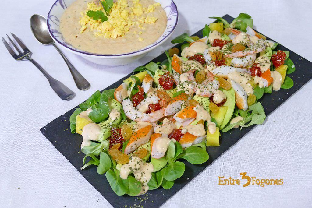 Receta Ensalada de Gambas y Aguacate con Salsa Mil Islas