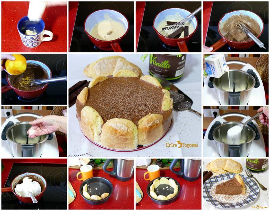 Pasos Tarta Charlota de Chocolate