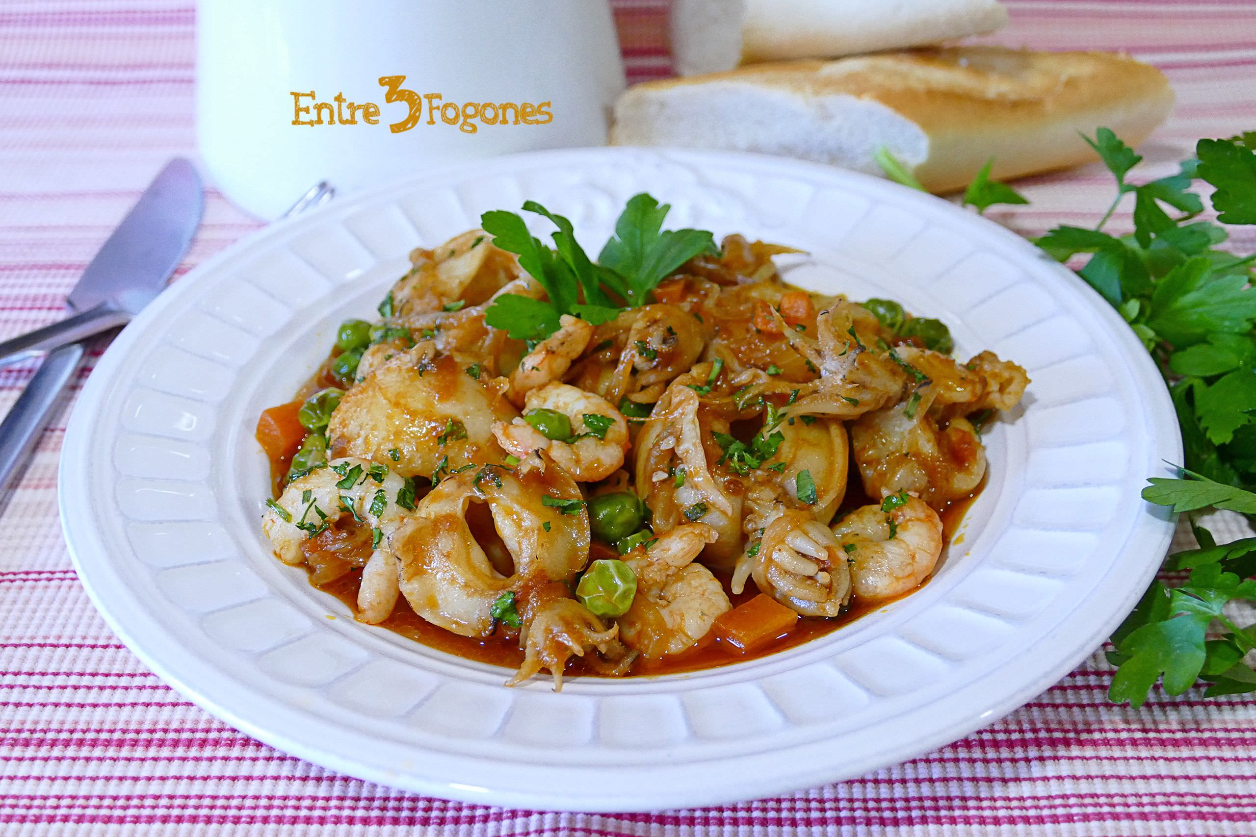 Photo of Sepia con Gambas y Verduras