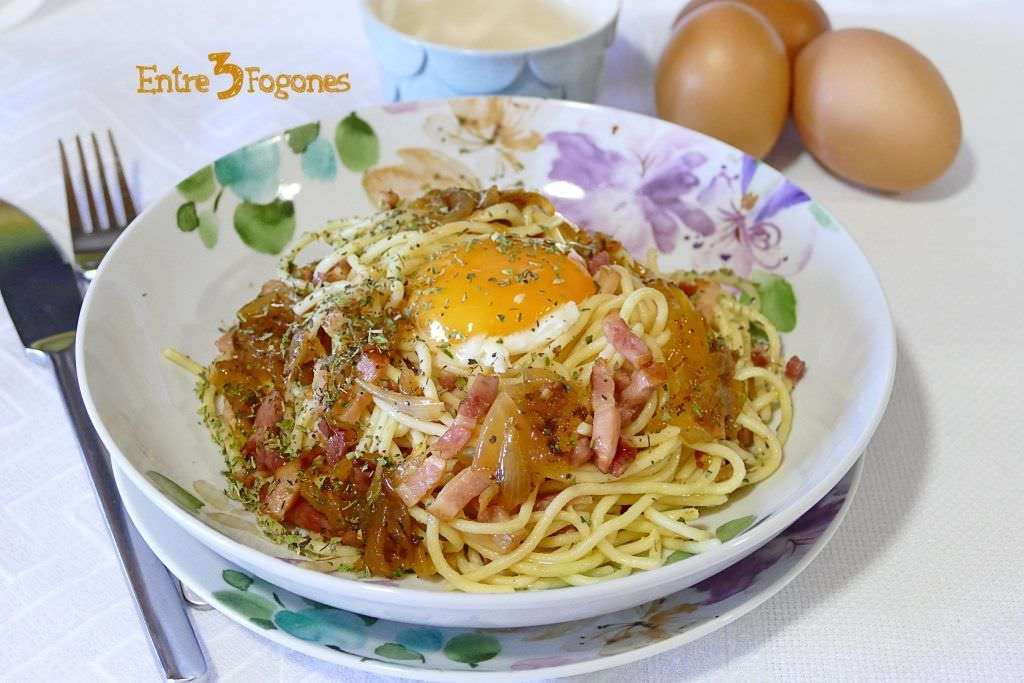 Receta Espaguetis Carbonara con Jamón Serrano