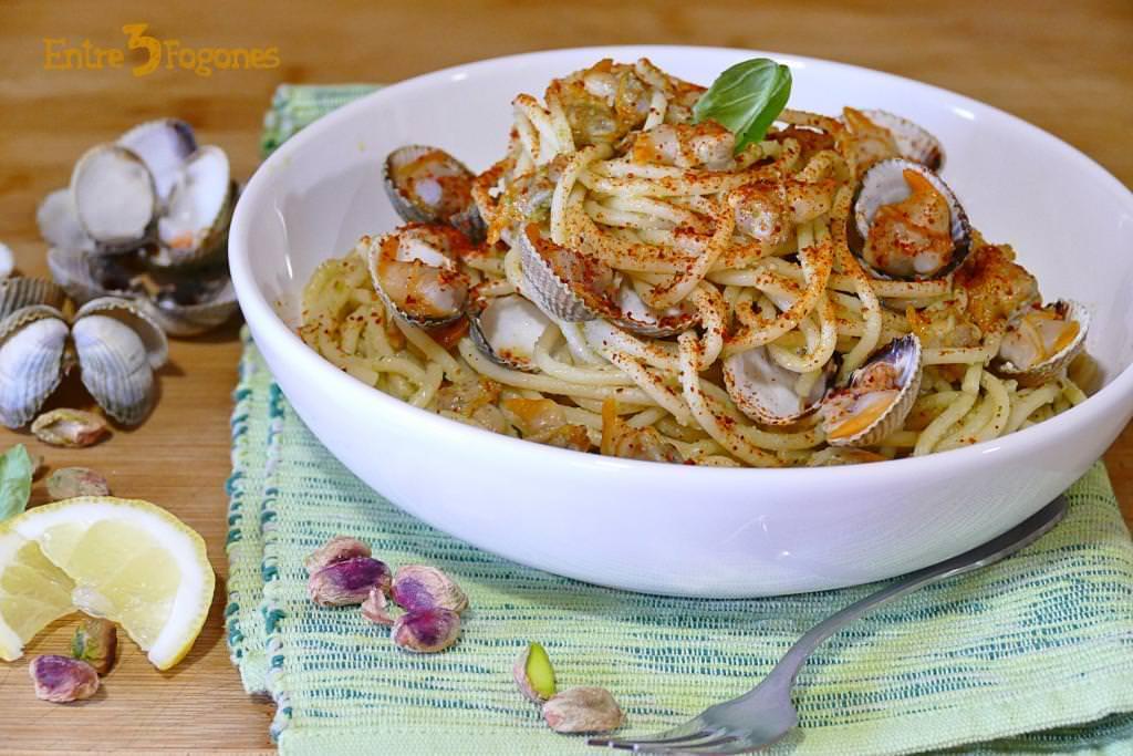 Receta Espaguetis al Pesto con Berberechos