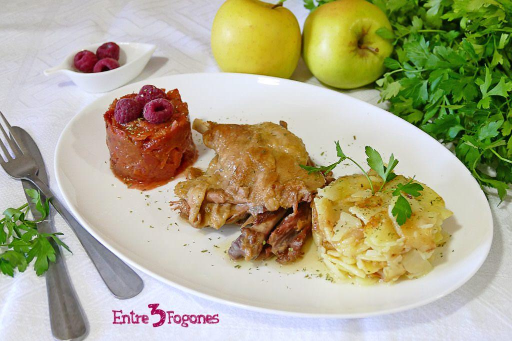 Receta Confit de Pato con Patatas y Frambuesas al Oporto