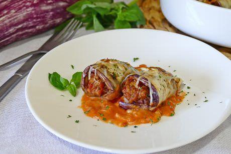 Rollitos de Berenjena Rellenos de Carne a la Boloñesa