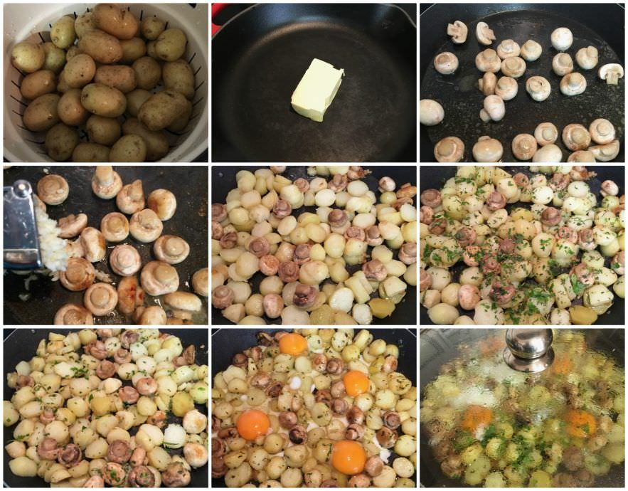Pasos Huevos Estrellados con Patatas y Champiñones