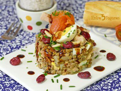 Receta Ensalada de Lentejas y Atún con Trucha Ahumada
