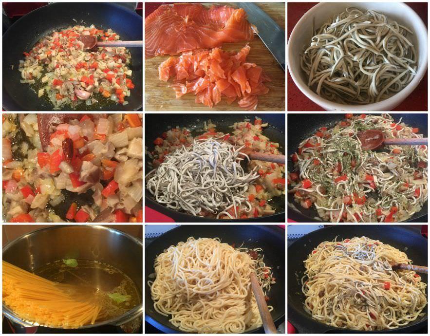 Pasos Espaguetis con Gulas y Salmón