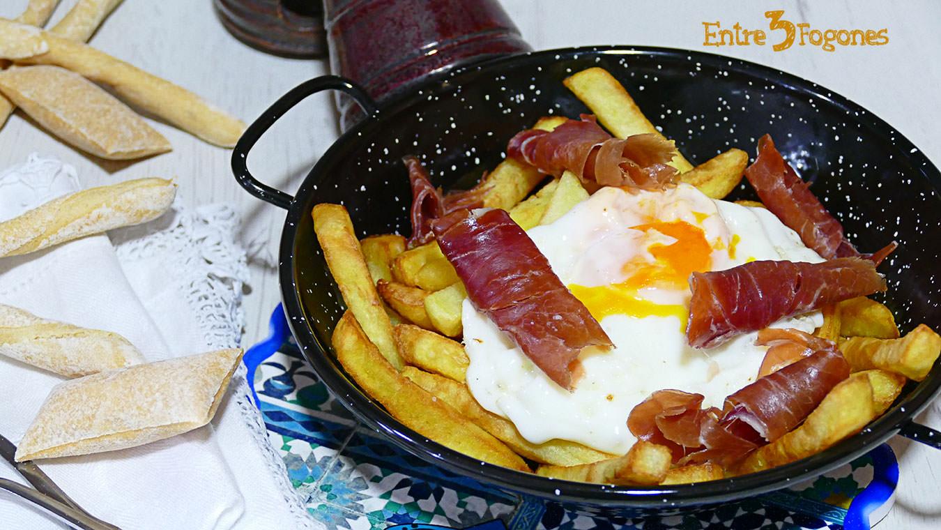 Receta Huevos Rotos con Jamón
