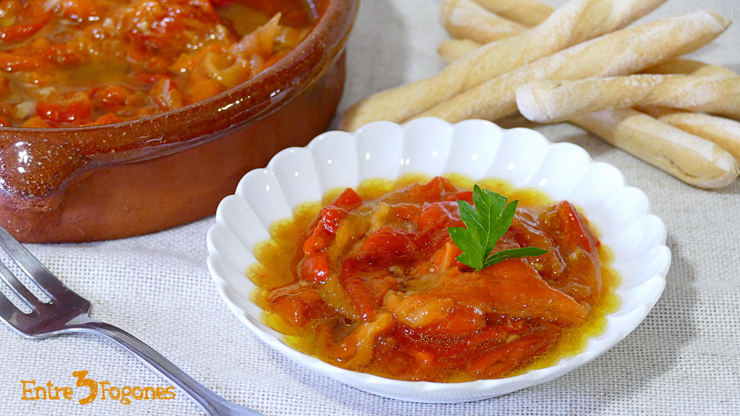 Ensalada de Pimientos Rojos Asados y Tomate