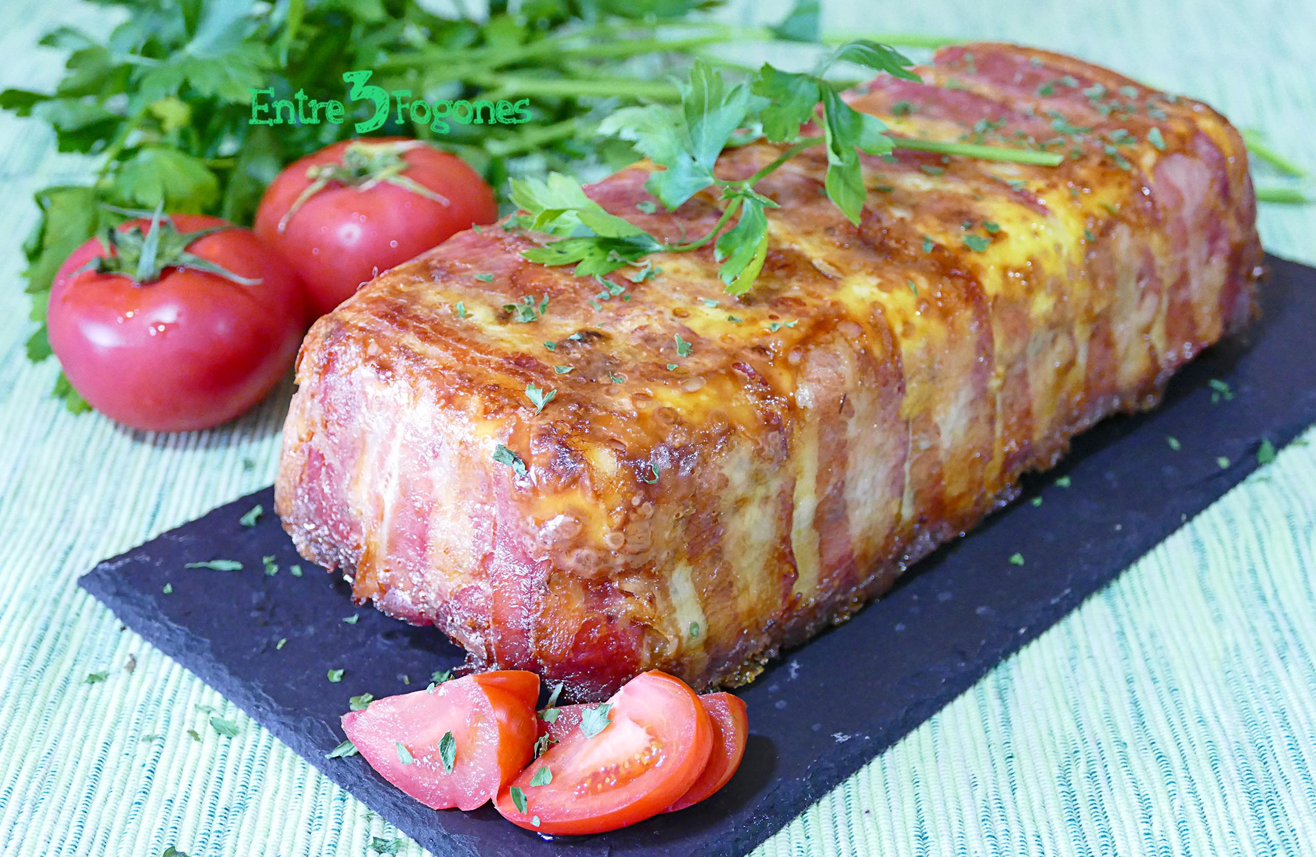 Pastel de Tortilla de Patatas con Bacon Jamón y Queso