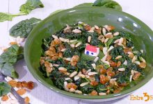 Photo of Espinacas Salteadas con Pasas y Piñones