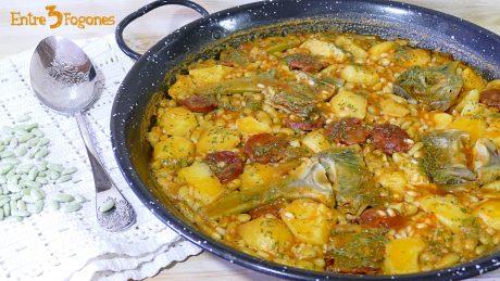 Alubias Verdinas con Chorizo y Arroz