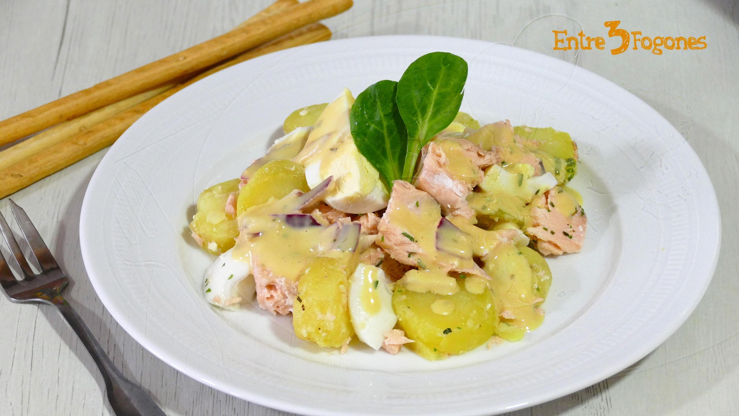 Ensalada de Patata y Huevo con Salmón Fresco Cook Expert