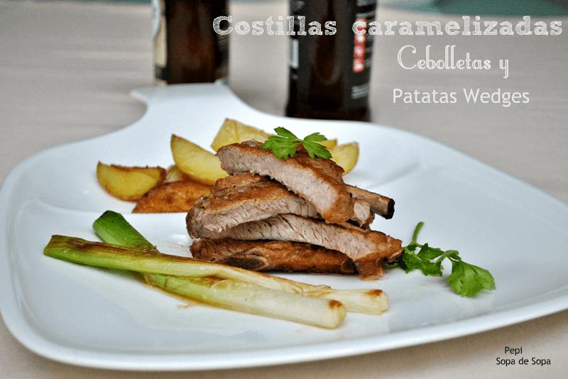 Costillas Caramelizadas, Cebolletas y Patatas Wedges