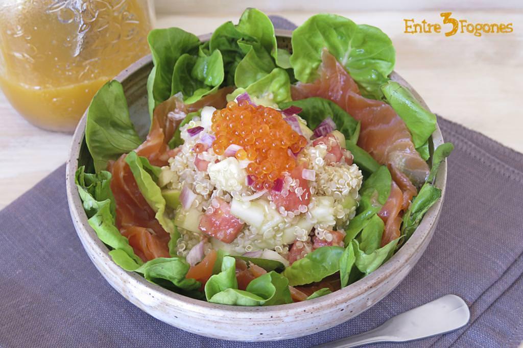 Ensalada de Quinoa con Manzana y Trucha Ahumada
