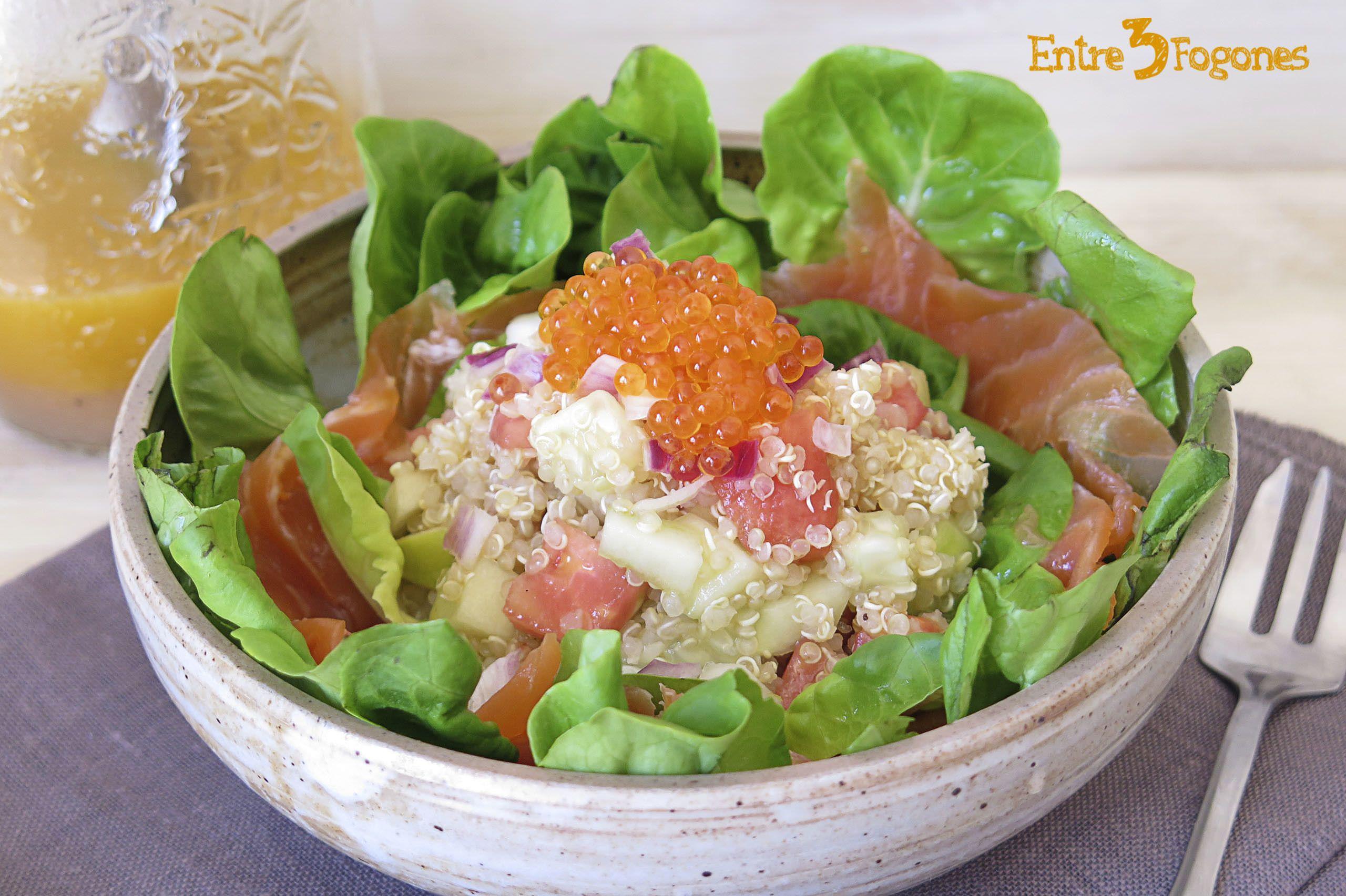 Receta Ensalada de Quinoa con Manzana y Trucha Ahumada