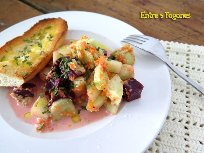 Receta Ensalada de Remolacha y Pepino con aliño de lechuga al cilantro