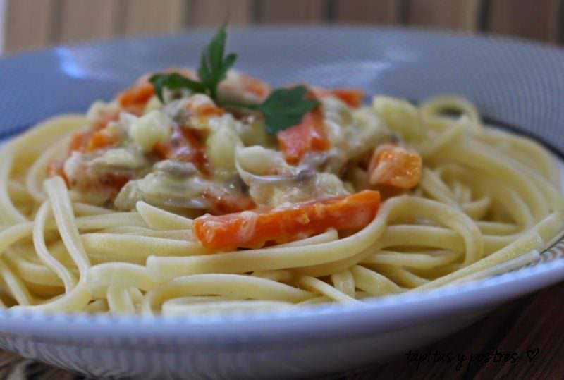 Espaguetis Carbonara con Vegetales