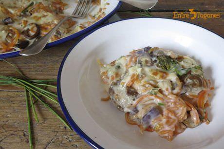 Espaguetis de Calabaza con Bechamel